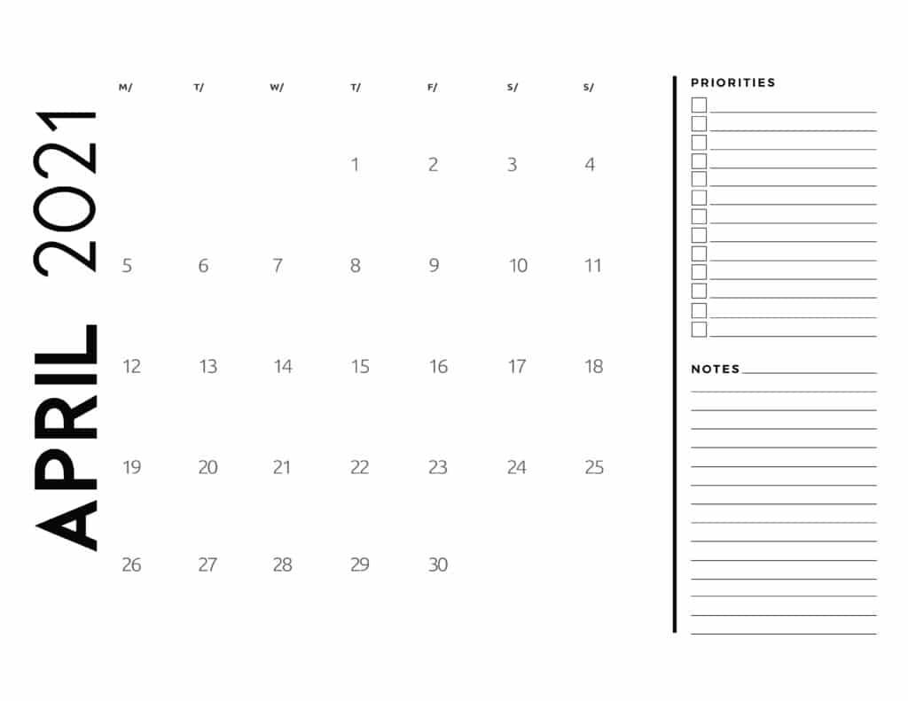 April 2021 Calendar Priorities And Notes