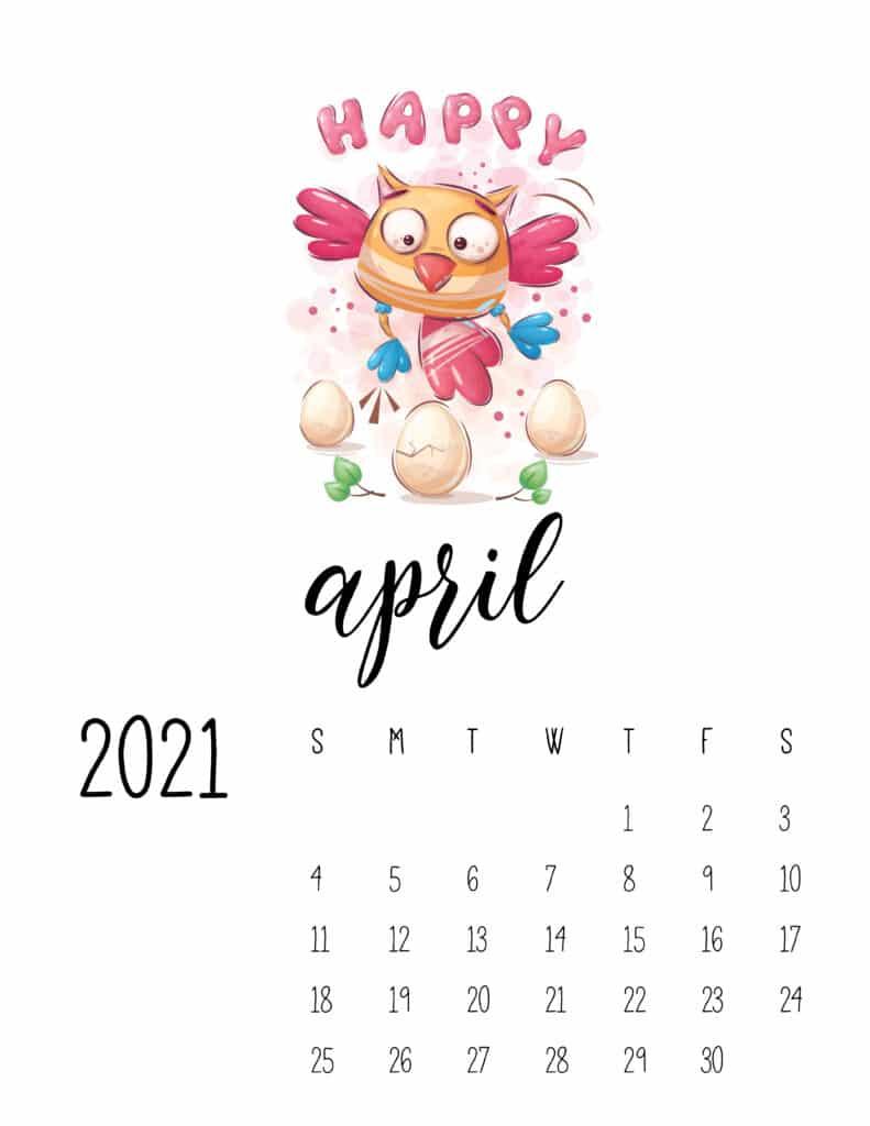 April 2021 Calendar with Cute Happy Animals