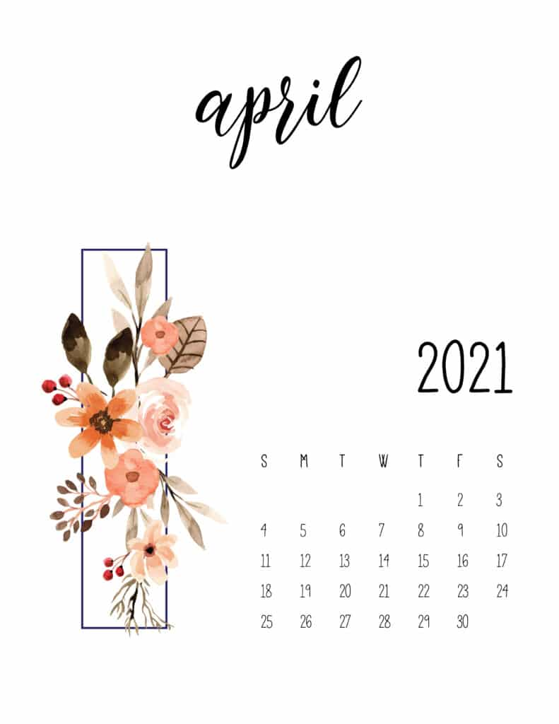 April 2021 Floral Calendar Free