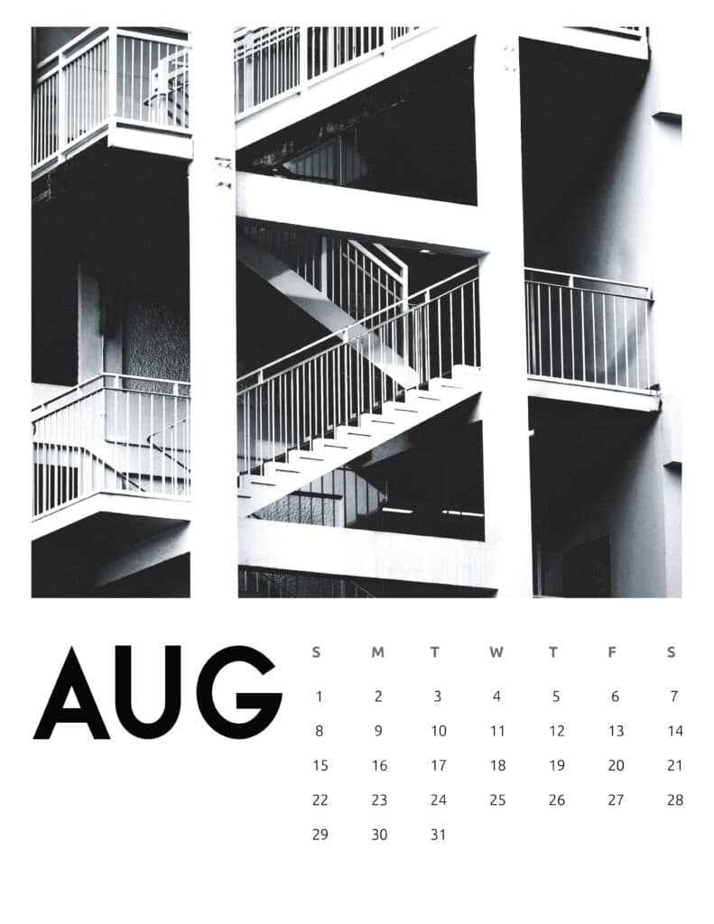 August 2021 Calendar Abstract Photography