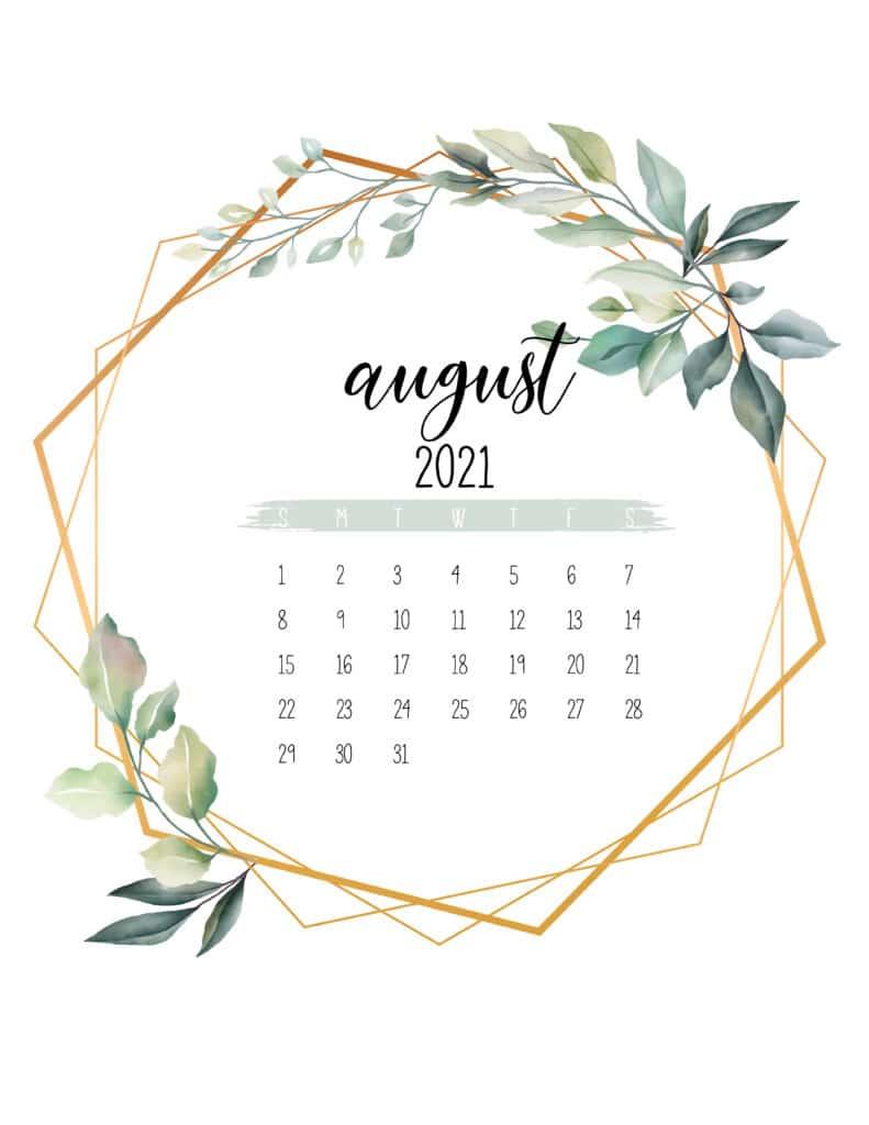 August 2021 Calendar Botanical Free Printable