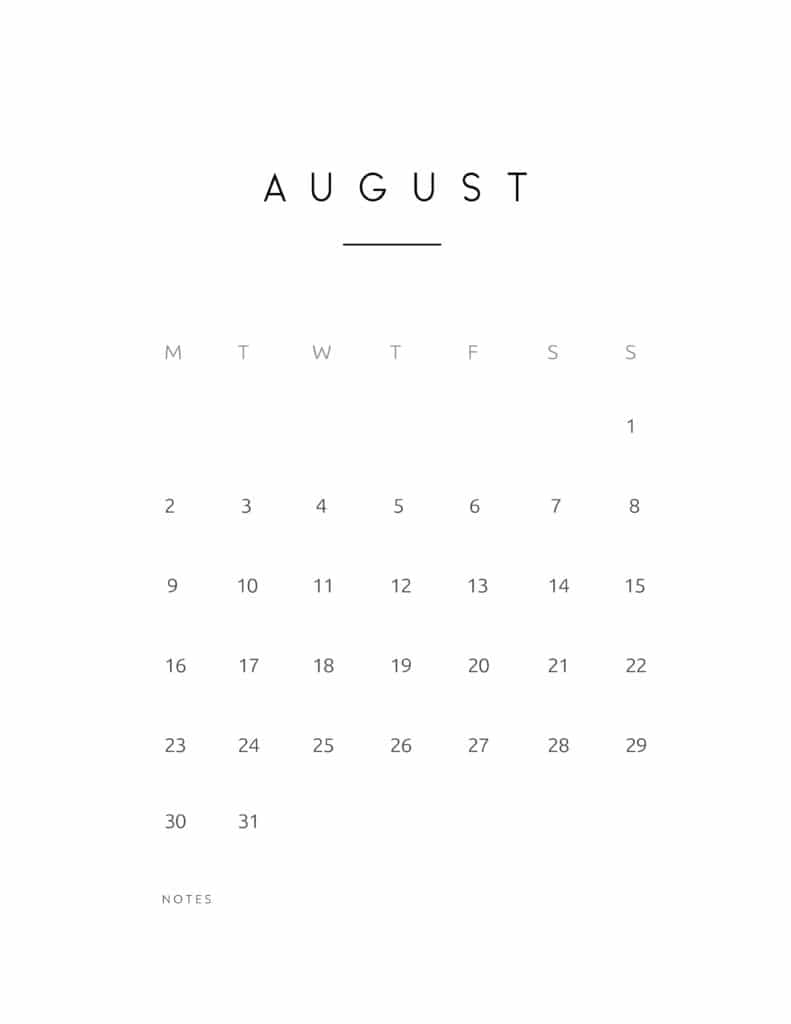 August 2021 Calendar Contemporary Style