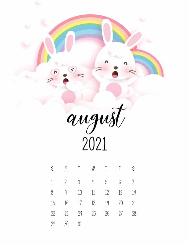 August 2021 Calendar Cute Rabbits And Rainbows
