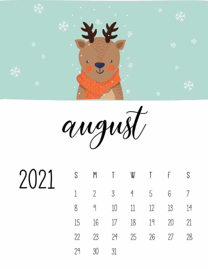 August 2021 Calendar Cute Winter Animals