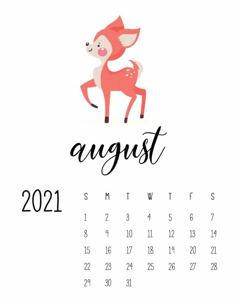 August 2021 Calendar Forest Woodland Animals