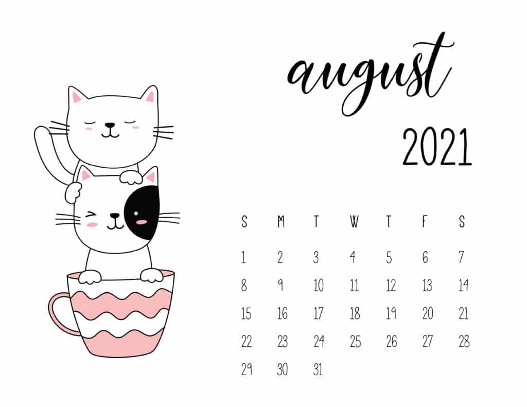 August 2021 Calendar Kittens in Tea Cups