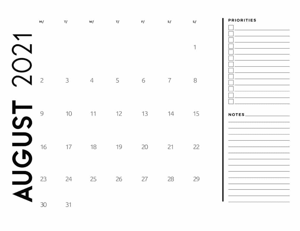 August 2021 Calendar Priorities And Notes