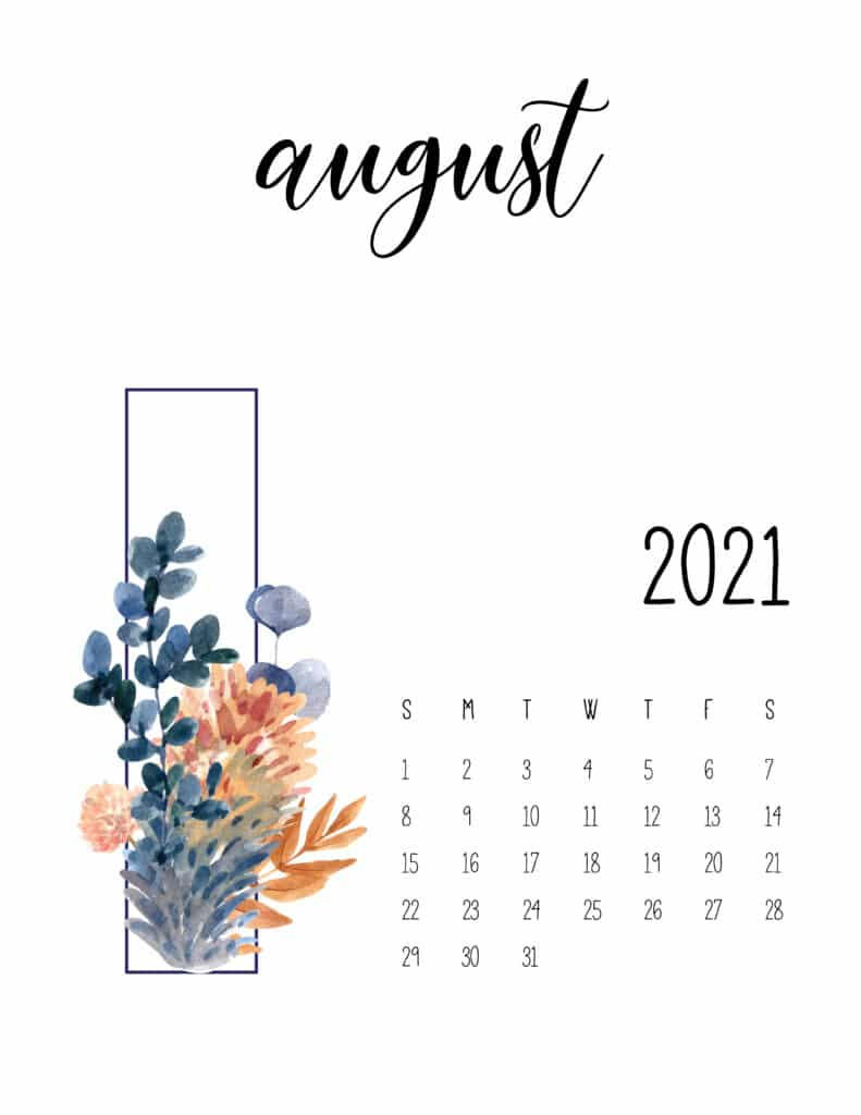 August 2021 Floral Calendar Free