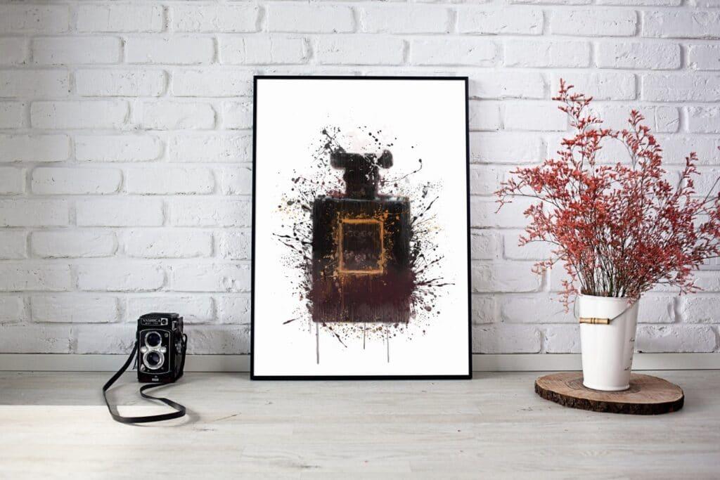 Black Perfume Bottle Splash Wall Art 2