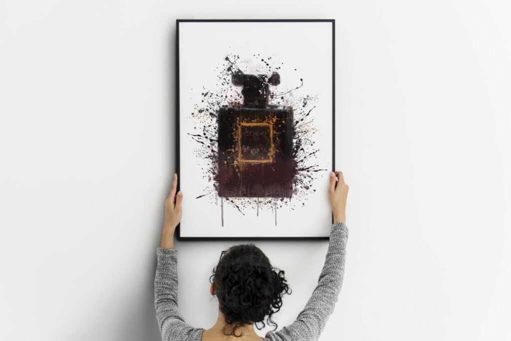 Black Perfume Bottle Splash Wall Art