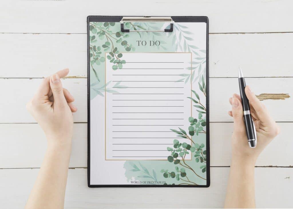 Blue Botanical To Do List Printable