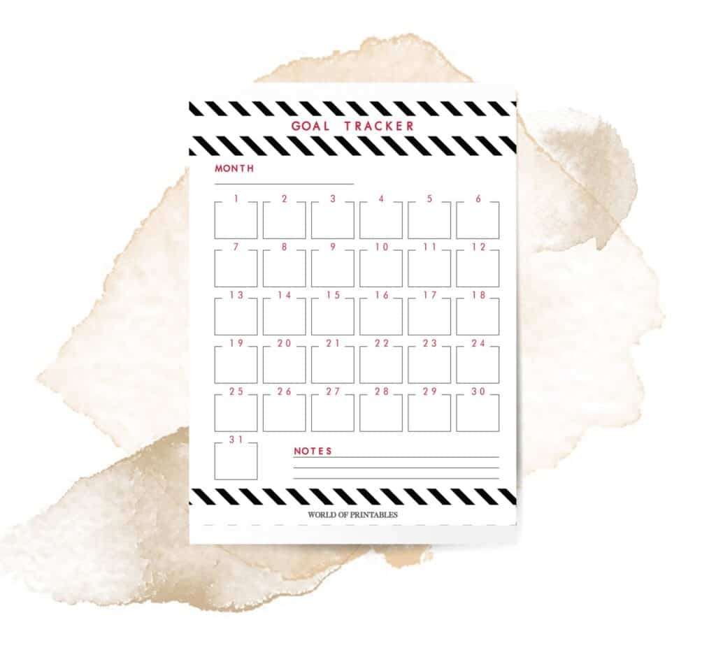 Bold Stripe Goal Tracker Printable