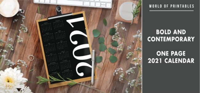 Bold and contemporary one page 2021 calendar