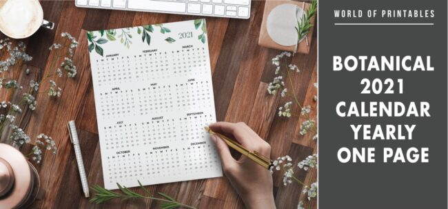 Botanical 2021 calendar yearly one page