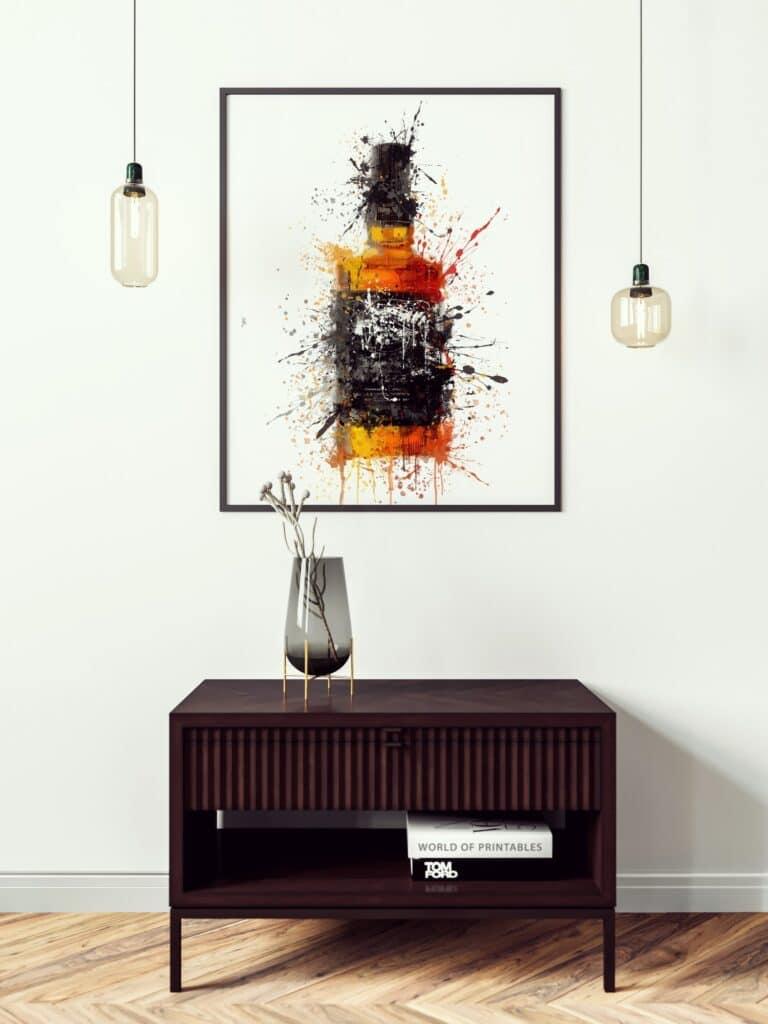 Bourbon Black Label Abstract Splatter Printable Wall Art