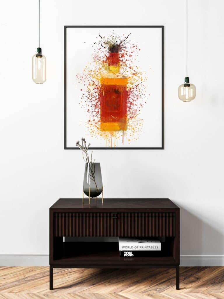 Bourbon Red Label Abstract Splatter Printable Wall Art