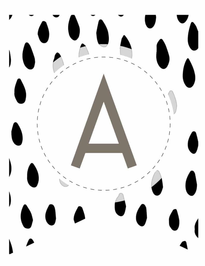 Free Printable brush stroke pattern banner letters for birthday party, baby shower or bridal shower celebration. Easy DIY printable birthday banners for a kids birthday or adult birthday.