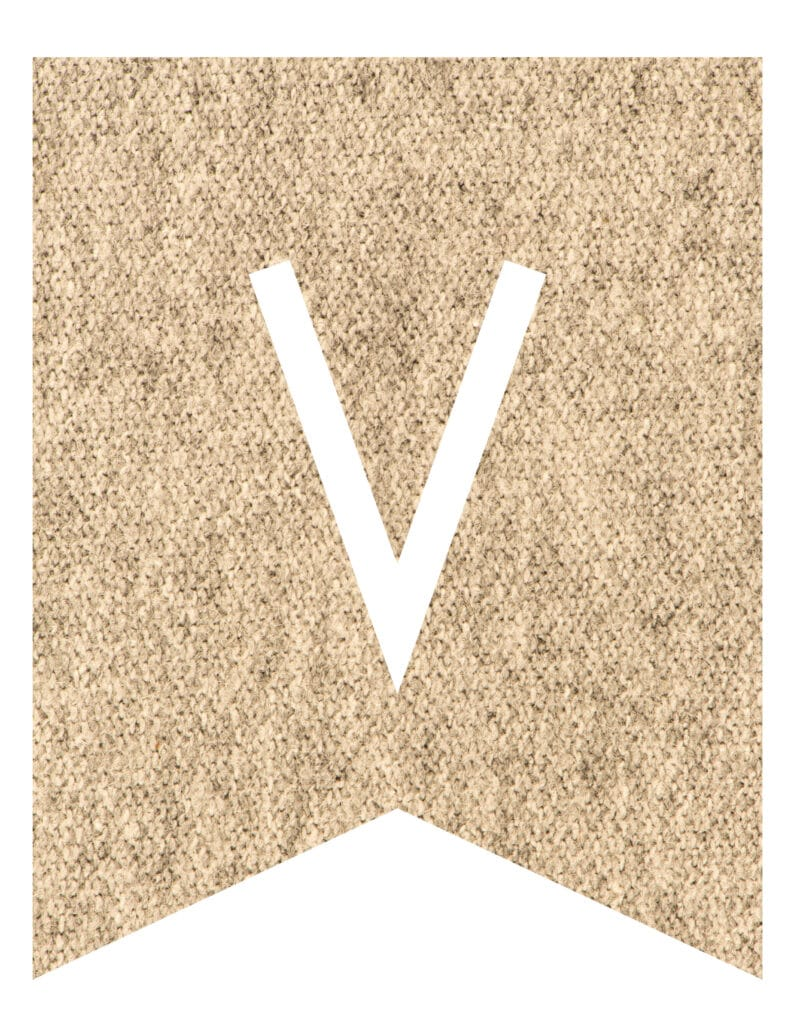 Free Printable burlap banner letters template. Customize these DIY banner flags for your party.