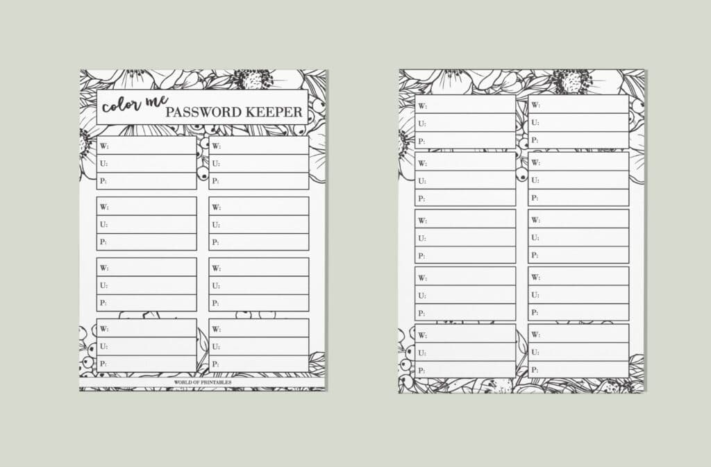 Color Me Floral Password Keeper
