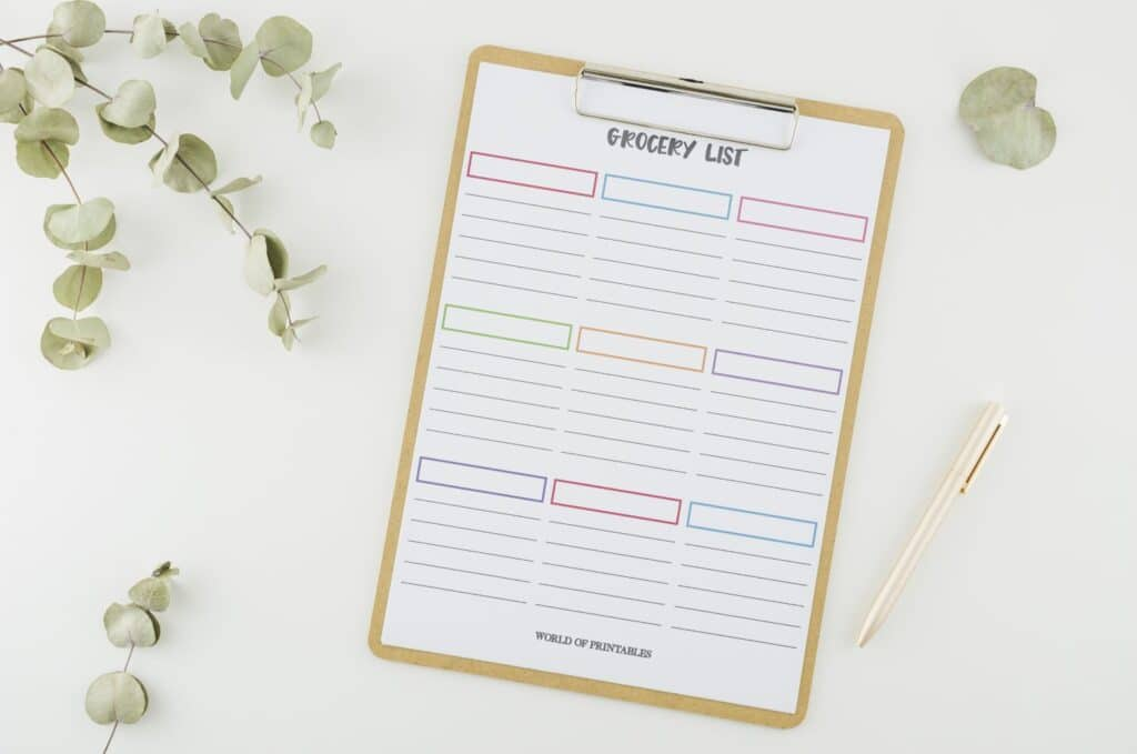 Colorful Blank Grocery List Template