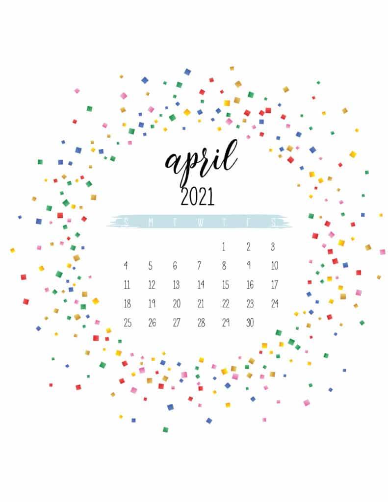 Colorful Free Printable April 2021 Calendar