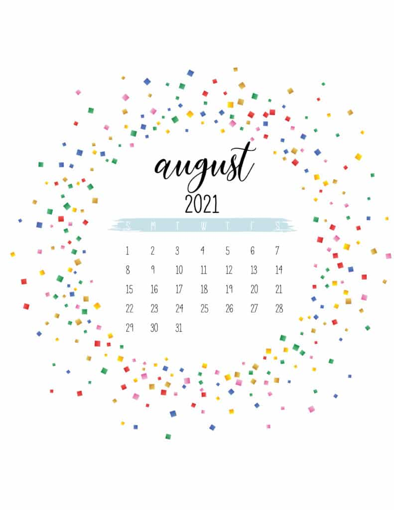 Colorful Free Printable August 2021 Calendar