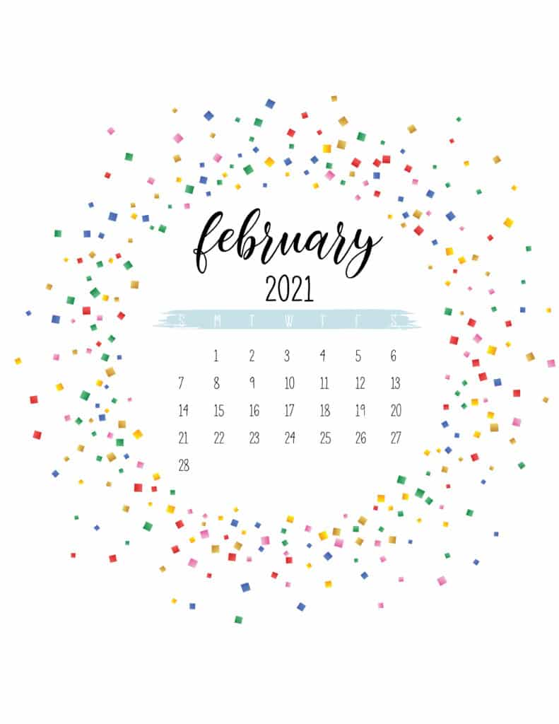 Colorful Free Printable February 2021 Calendar