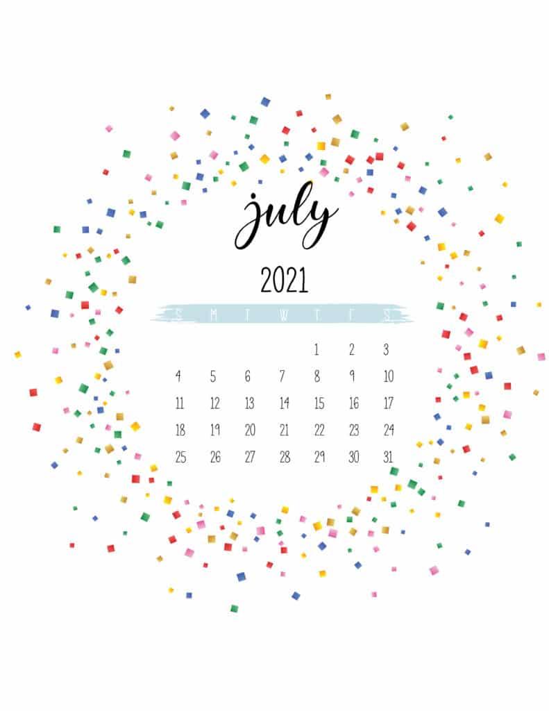 Colorful Free Printable July 2021 Calendar