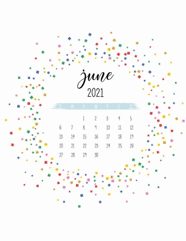 Colorful Free Printable June 2021 Calendar