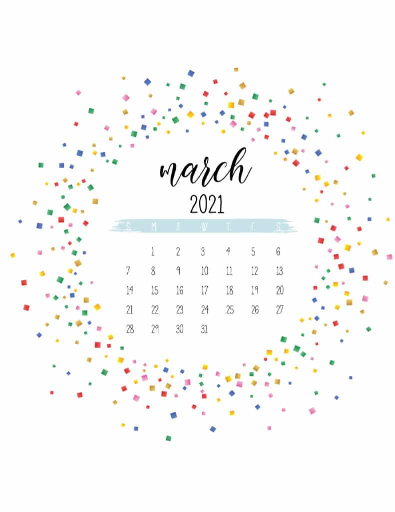 Colorful Free Printable March 2021 Calendar