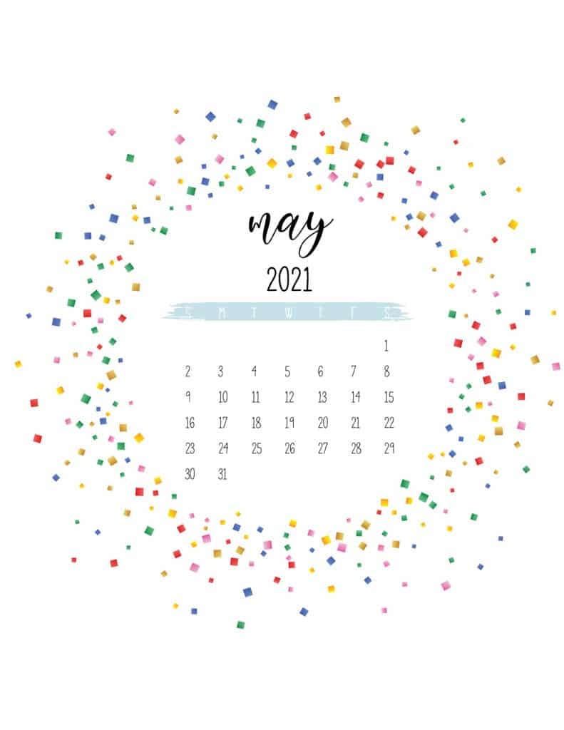 Colorful Free Printable May 2021 Calendar