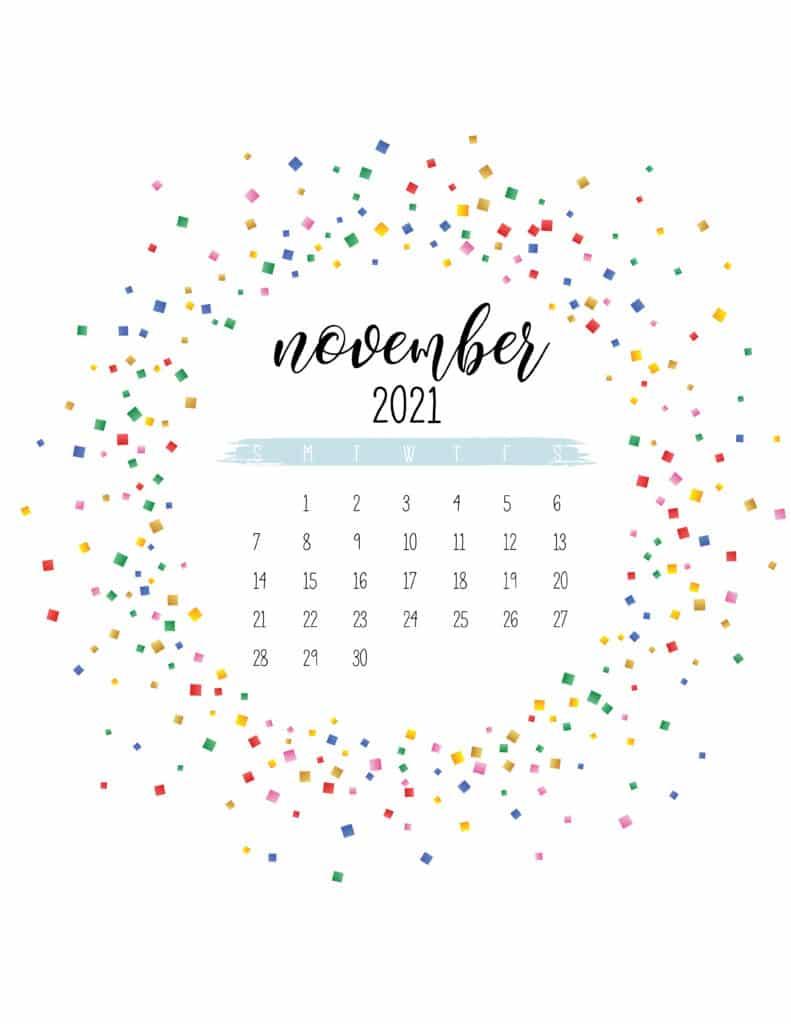 Colorful Free Printable November 2021 Calendar