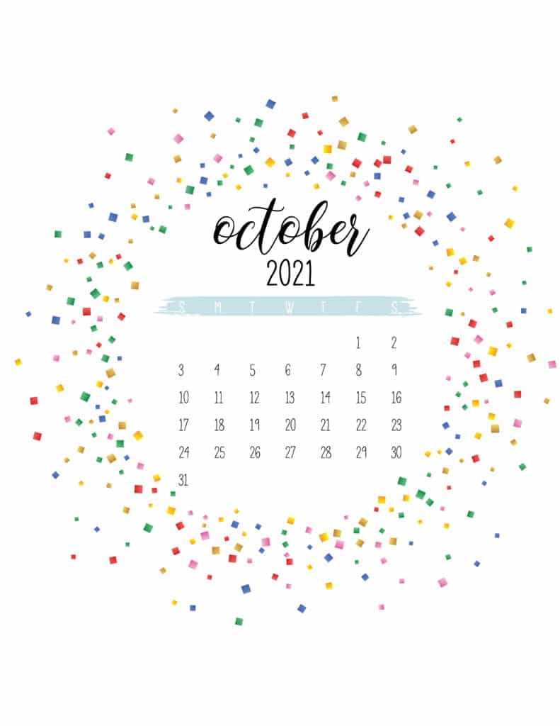Colorful Free Printable October 2021 Calendar