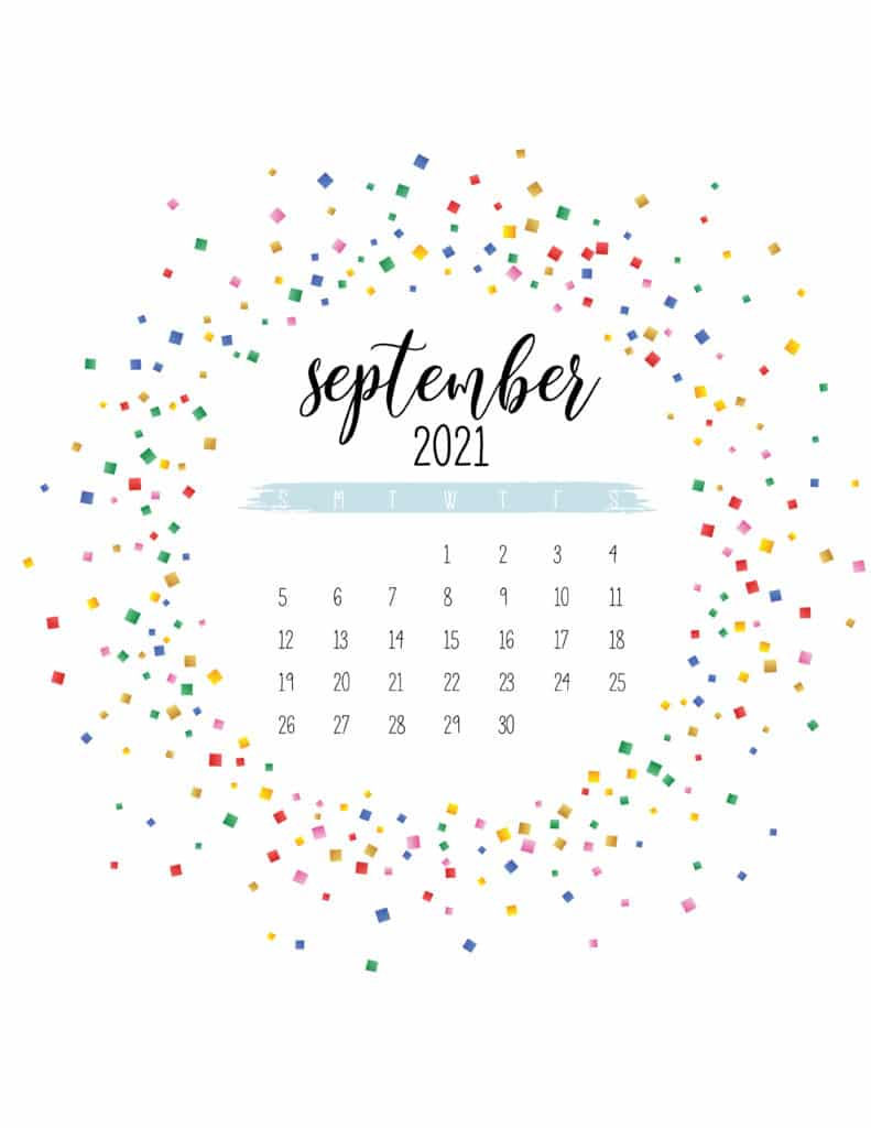 Colorful Free Printable September 2021 Calendar