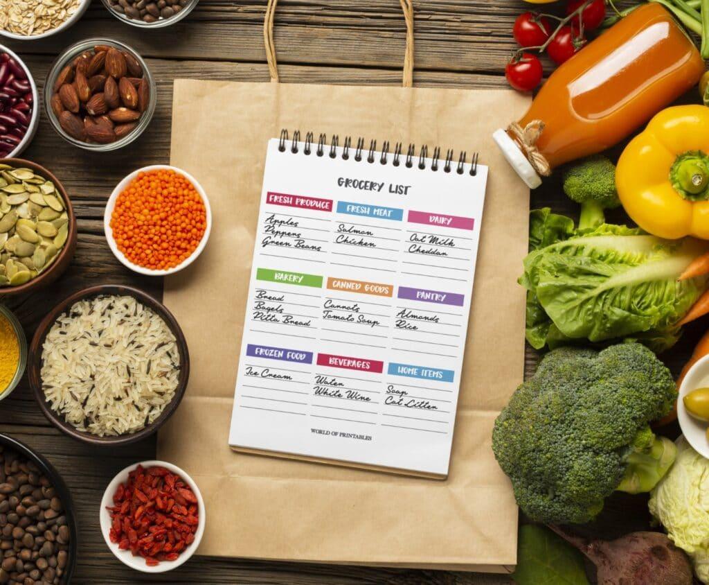 Printable Colorful Grocery List