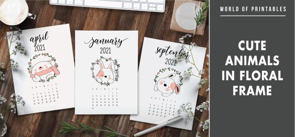 Cute animals in floral frame