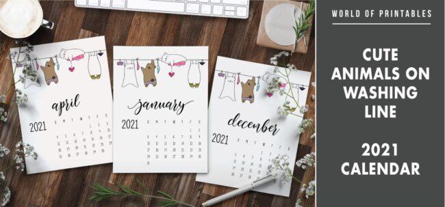Cute animals on washing line 2021 Calendar