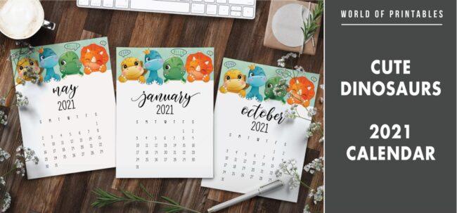 Cute dinosaurs 2021 Calendar