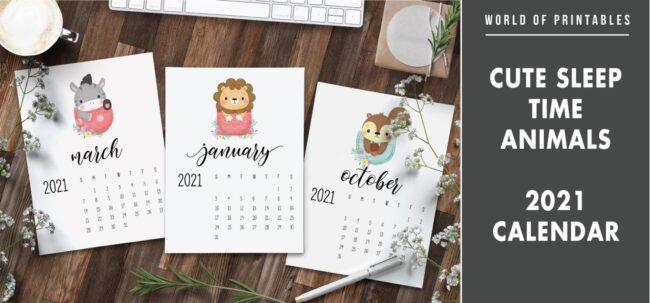 Cute sleep time animals 2021 Calendar