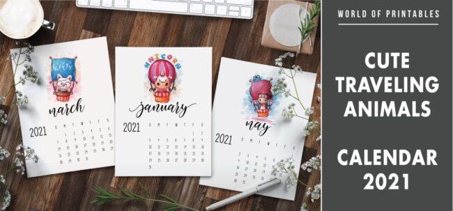 Cute traveling animals calendar 2021