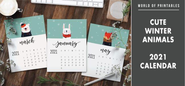 Cute winter animals 2021 Calendar