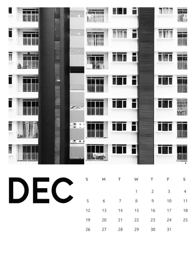 December 2021 Calendar Abstract Photography