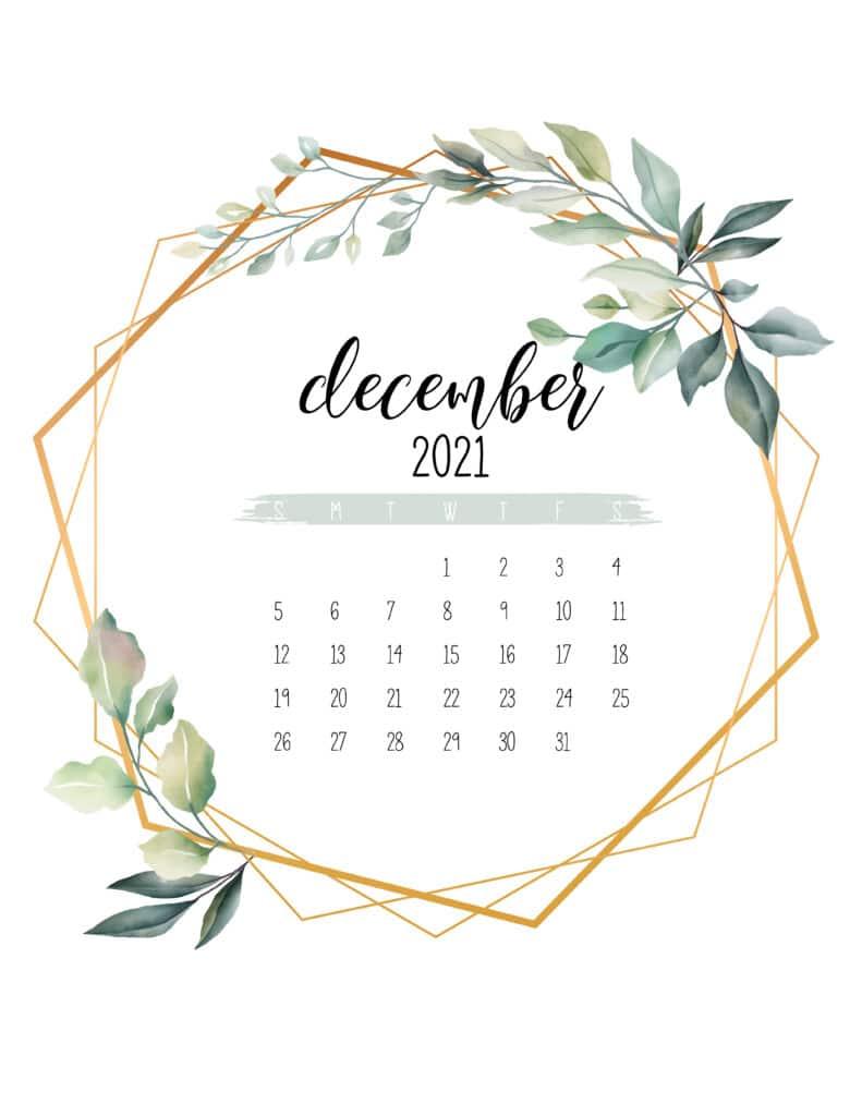 December 2021 Calendar Botanical Free Printable
