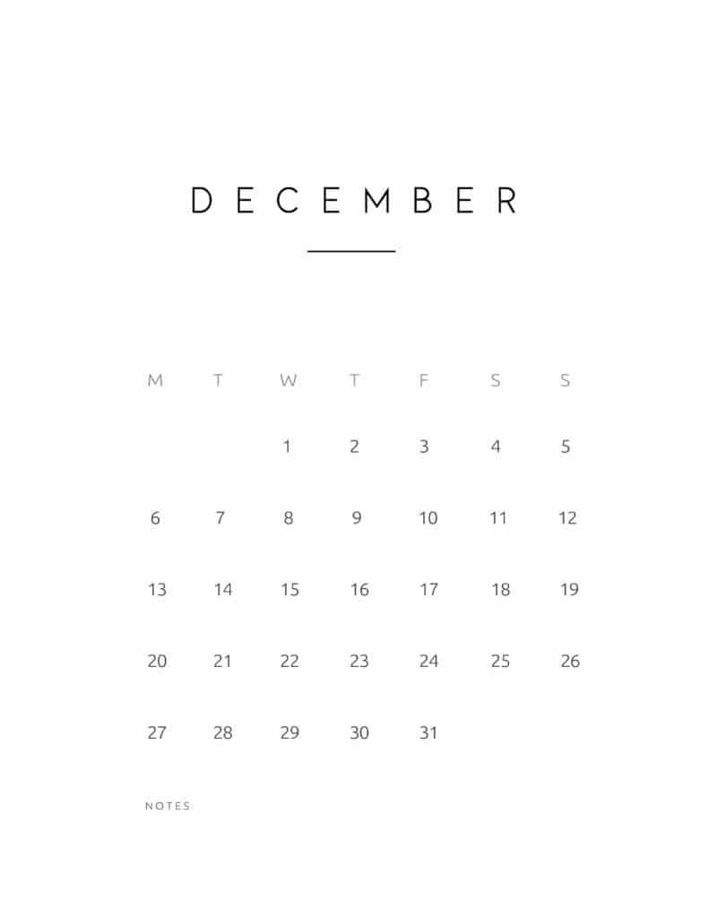 December 2021 Calendar Contemporary Style