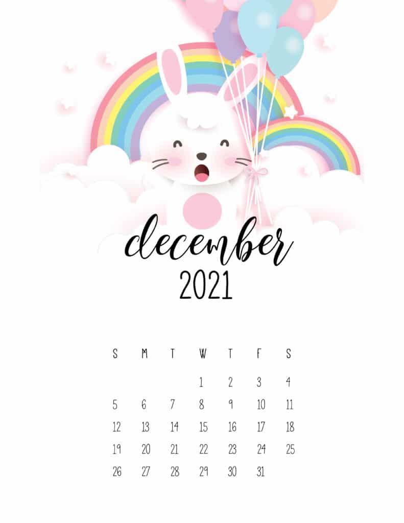 December 2021 Calendar Cute Rabbits And Rainbows