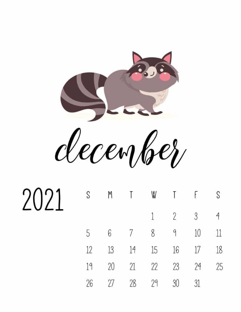 December 2021 Calendar Forest Woodland Animals