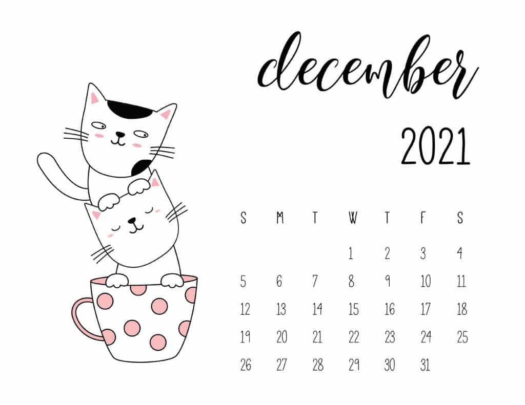 December 2021 Calendar Kittens in Tea Cups