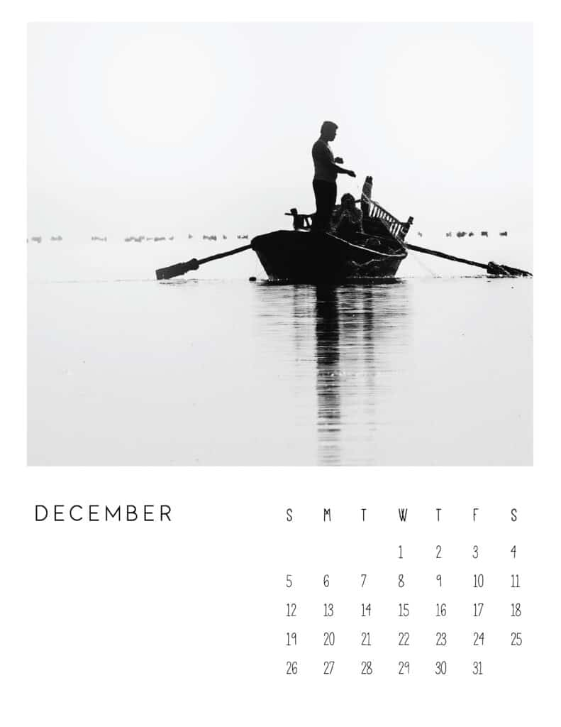 December 2021 Calendar Monochrome Photography
