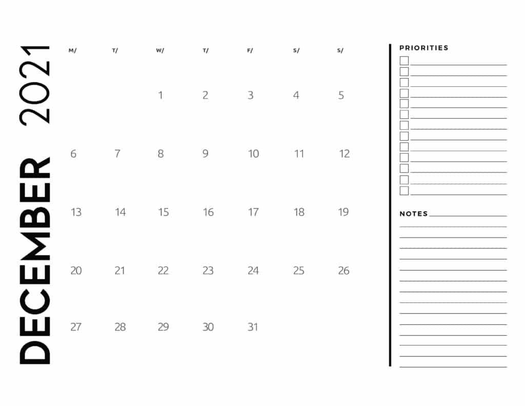 December 2021 Calendar Priorities And Notes