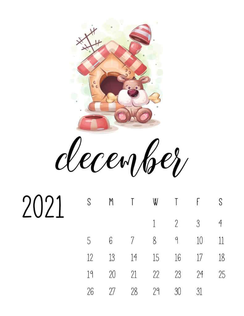 December 2021 Calendar with Cute Happy Animals